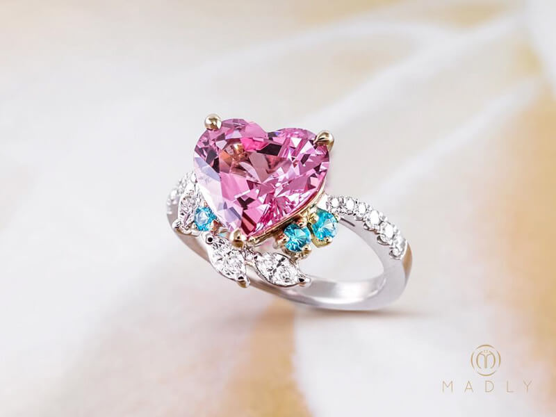 engagement ring in and carat halo gemstone pink rose women gold rings sapphire for diamond